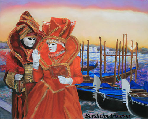 Carnevale Sunrise Venice Italy Costumed Couple Carnival Fat Tuesday Pastel Painting on Pastelbord
