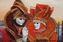 Load image into Gallery viewer, Detail of Couple in Venetian costumes pastel painting Carnevale Sunrise Venice Italy Costumed Couple Carnival Fat Tuesday