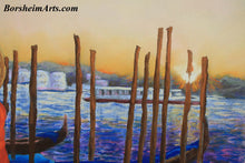 Load image into Gallery viewer, Texture Detail of sunrise, water and the poles that secure the gondola in Venice Italy