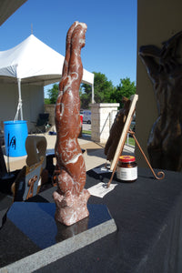 Diver Stone Carving Sports Art Marble Verticle Male Figure Sculpture Black Granite Base Rojo Balboa Spanish Marble