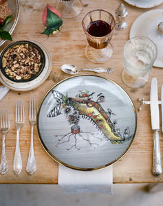 Table setting with Miss Mushroom designer collector plate made of porcelain and gold by Dragana Adamov