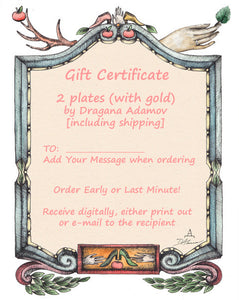 Gift Certificate for TWO designer plates with GOLD by Dragana Adamov
