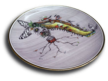 Load image into Gallery viewer, Miss Mushroom This fantasy drawing printed onto a porcelain and gold plate features the high-heeled shoe of Miss Mushroom (see top of shoe) and she is sure to delight!  Do you see red lips with tails, a serpent or snake, butterfly wings, zebra stripes, leopard design, tiny shoes, a bouquet of flowers, especially daisies, bats, and a spider web?