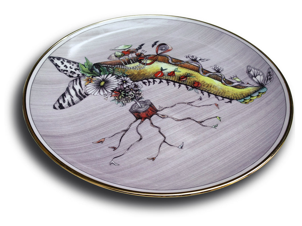 Miss Mushroom This fantasy drawing printed onto a porcelain and gold plate features the high-heeled shoe of Miss Mushroom (see top of shoe) and she is sure to delight!  Do you see red lips with tails, a serpent or snake, butterfly wings, zebra stripes, leopard design, tiny shoes, a bouquet of flowers, especially daisies, bats, and a spider web?