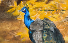 Load image into Gallery viewer, Painting Detail head of male peacock against yellow background