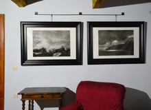 Load image into Gallery viewer, Savings if you buy BOTH Cinque Terre coastal sea drawings Spotlight original charcoal drawing Black and White Dramatic Storm Clouds Sun Rays Seascape Art Print Cinque Terre Italy Drawing