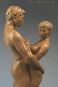 Detail Together and Alone Bronze Sculpture of Man Woman Couple