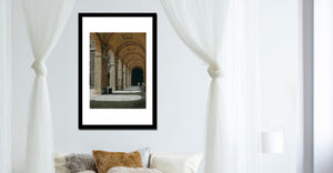 Bedroom decor Palazzo Pitti - Firenze, Italia ~ Original Pastel & Charcoal Drawing Repeating Arches in perspective