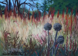 Grasses of Santa Margherita Ligure II Pom Pom Landscape Painting