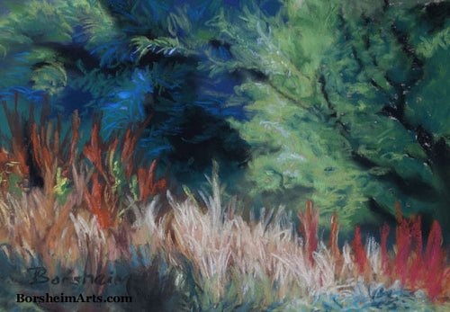 Grasses of Santa Margherita Ligure I Ligurian Landscape Painting Blue Pastel Painting Hiking Ligurian Coast near Portofino Italy