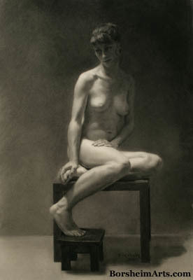 Ilaria ~ Original Classical Study Charcoal Drawing of Nude Woman Seated Peacefully