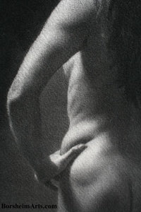 Detail of arm and Nude Woman Torso Memories of Venice Nude Woman Model Italy Classic Charcoal Drawing from Live Model Italy