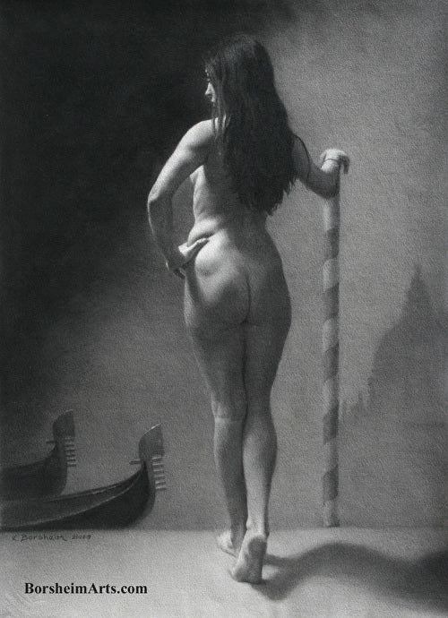 Memories of Venice Nude Woman Model Italy Classic Charcoal Drawing from Live Model Italy
