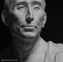 Load image into Gallery viewer, Detail of Face subtle tones Niccolò da Uzzano Portrait after Donatello Charcoal and Pastel on Grey Paper Portrait Art