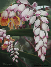 Load image into Gallery viewer, Raindrops on Shell Ginger Flowers Original Pastel Painting on Green Paper