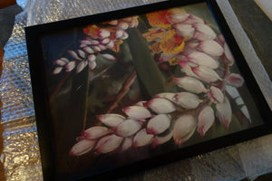 Framed in scratched plexiglass for protection of Pastel Painting of Tropical Flowers Shell Ginger