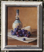 Load image into Gallery viewer, Chianti Wine, Cheese, and Grapes Still Life Oil Painting Framed