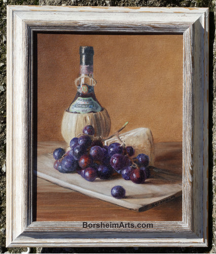 Chianti Wine, Cheese, and Grapes Still Life Oil Painting Framed