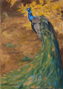 painting of gorgeous male peacock walking in front of some bright yellow autumn leaves