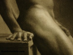 Detail Man s Hand Hips Second Thoughts Classical Drawing of Nude Male Figure