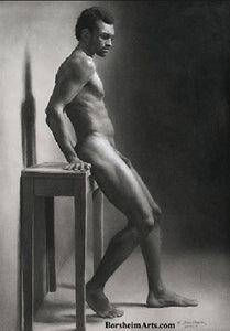 Second Thoughts Classical Drawing of Nude Male Figure SOLD
