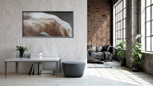 Stunning room enhancement is this painting of a reclining nude female torso, Arch.  24 x 48 inches