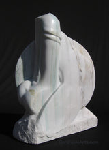 Load image into Gallery viewer, Yin Yang Marble Sculpture Erotic Statue Green Gold Veining Marble