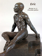 Load image into Gallery viewer, Chocolate Patina Eric Bronze Male Nude Art Sculpture Seated Thinking Man Muscular Build Statue