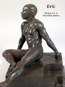 Chocolate Patina Eric Bronze Male Nude Art Sculpture Seated Thinking Man Muscular Build Statue