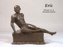 Load image into Gallery viewer, Eric Bronze Male Nude Art Sculpture Seated Thinking Man Muscular Build Statue Chocolate Patina