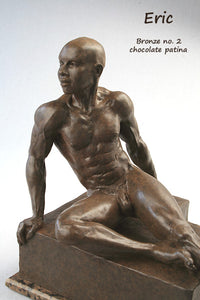 Eric Bronze Male Nude Art Sculpture Seated Thinking Man Muscular Build Statue Chocolate Patina