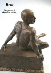 Side View Eric Bronze Male Nude Art Sculpture Seated Thinking Man Muscular Build Statue Chocolate Patina