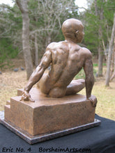 Load image into Gallery viewer, Eric Bronze Male Nude Art Sculpture Seated Thinking Man Muscular Build Statue Reddish Brown Patina