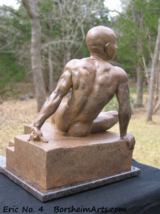 Eric Bronze Male Nude Art Sculpture Seated Thinking Man Muscular Build Statue Reddish Brown Patina