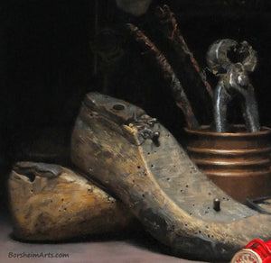 Detail Shoe Forms and Tool Textures Detail Shoes Still Life Painting Tools Sewing Machine Old Letters Realism Art