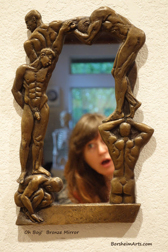 Artist Self-Portrait in Studio with Oh Boy! Bronze Mirror of Nude Men