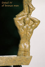 Load image into Gallery viewer, Detail Opaque Tan Patina Oh Boy! Bronze Mirror of Nude Men