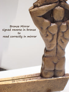 Traditional Patina Signature Reflected Oh Boy! Bronze Mirror of Nude Men