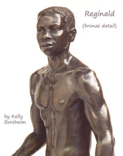 Load image into Gallery viewer, Detail Reginald Walking Man Bronze Statue African American Sculpture Black Patina Standing Figure Art