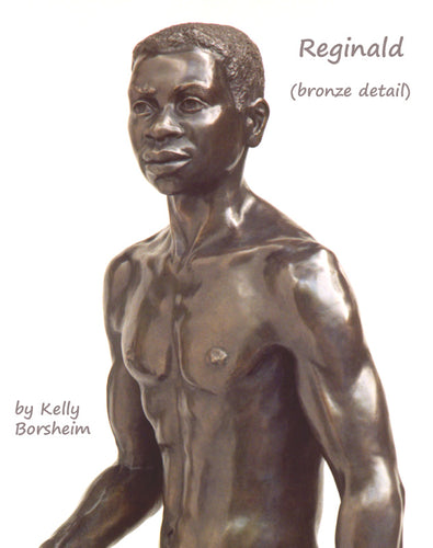 Detail Reginald Walking Man Bronze Statue African American Sculpture Black Patina Standing Figure Art