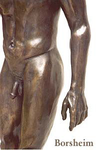Detail hand and torso Reginald Walking Man Bronze Statue African American Sculpture Black Patina Standing Figure Art
