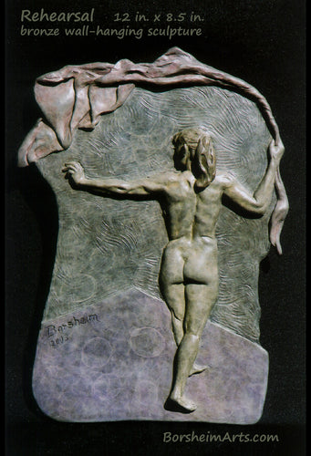 Rehearsal Nude Dancer Back View Bronze Bas-relief Sculpture Wall-Hanging Art