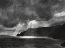 Load image into Gallery viewer, Spotlight Dramatic Lighting of Sun through Clouds Rugged Coastline Sun and Sea Water of Cinque Terre Italy Black and White Original Drawing