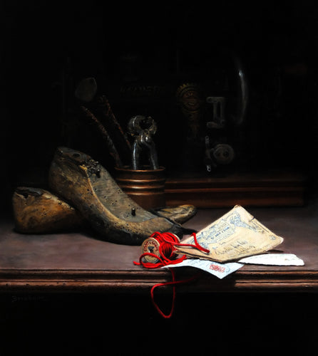 Shoes Still Life Painting Tools Sewing Machine Old Letters Realism Art