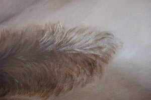 "Metallic paint gives subtle highlights to this painting of a female nude torso titled ""Arch"""