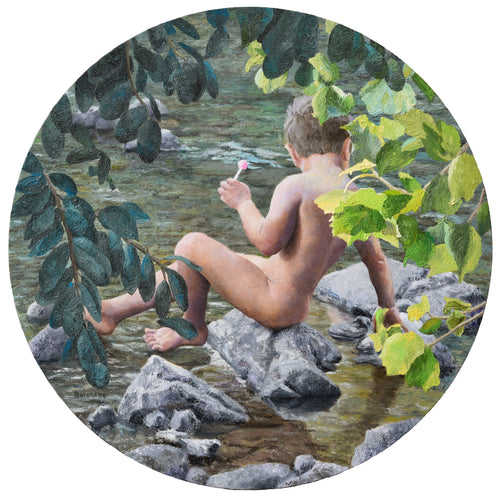 Lollipop Painting of Boy Child Innocence Looking Into River Natural In Nature Painting on 30 inch round thick maple wood panel