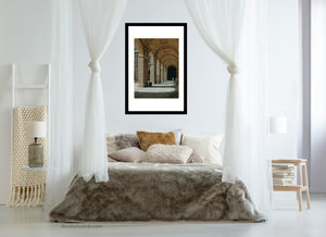 neutral colors for relaxing in bedroom art Palazzo Pitti - Firenze, Italia ~ Original Pastel & Charcoal Drawing Repeating Arches in perspective