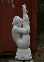 Load image into Gallery viewer, Garden Statue Gymnast Pike Position on Four Headed Turtle Fantasy Figure Statue Marble