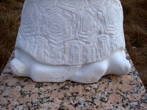 Artist Signature Sea Turtle Heads Gymnast Pike Position on Four Headed Turtle Fantasy Figure Statue Marble
