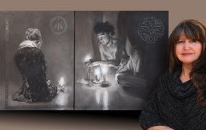 Luminosity meditation diptych painting shown with the artist Kelly Borsheim, painter and sculptor